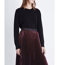 Christopher Kane Metallic Trim Wool And Cashmere Blend Jumper Black Bordeaux