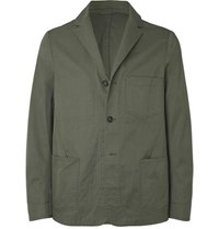 Officine Generale Olive Unstructured Washed Cotton Twill Suit Jacket Green