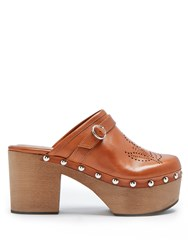 Alexachung Perforated Leather Clogs Tan