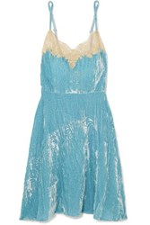 Rosamosario Bellezza D'amare Lace Trimmed Velvet Chemise Light Blue