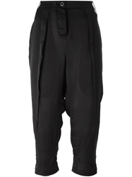 Lost And Found Drop Crotch Cropped Trousers Black