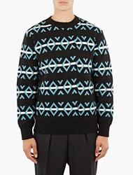 Raf Simons Black Jacquard Roundneck Sweater