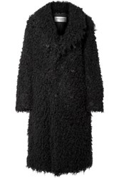 Saint Laurent Oversized Double Breasted Faux Shearling Coat Black