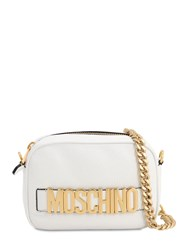 Moschino Logo Lettering Leather Camera Bag White