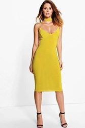 Boohoo Choker Plunge Neck Midi Dress Chartreuse