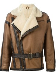 Thierry Mugler Vintage Shearling Biker Jacket Brown