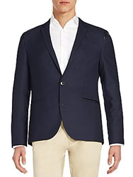 Hugo Boss Adgert Regular Fit Faux Leather Trim Sportcoat Dark Blue