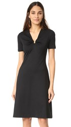 Salvatore Ferragamo Short Sleeve V Neck Dress Nero