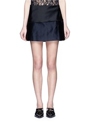 Ms Min Pleated Silk Satin Mini Skirt Blue