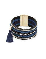 Cara Tassel And Stone Accented Multi Row Bracelet Denim