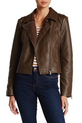 Bnci By Blanc Noir Sweater Bonded Faux Leather Moto Jacket Brown