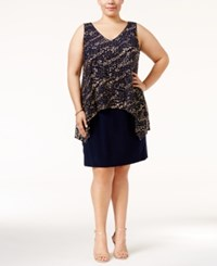 Si Fashions Sl Plus Size Metallic Popover Dress Navy Gold