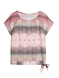 Sandwich Boho Print Top With Side Knot Detail Pink
