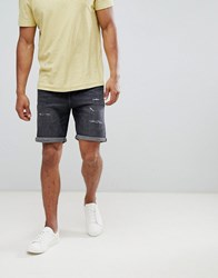 Selected Homme Denim Shorts With Distress Detail Grey