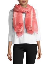 Lord And Taylor Fraas Linen Blend Scarf Vivid Cherry