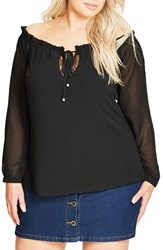 City Chic Plus Size Women's Lace Inset Off The Shoulder Ruffle Top Black