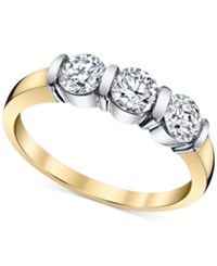 Macy's Diamond Three Stone Band 1 Ct. T.W. In 14K Gold And White Gold Two Tone