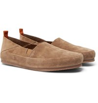 Mulo Collapsible Heel Suede Espadrilles Light Brown