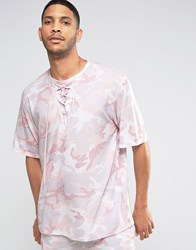 Granted Camo T Shirt With Lace Neckline Pink