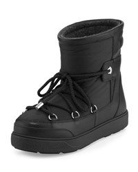 Moncler Fanny Lace Up Leather Ankle Boot Black
