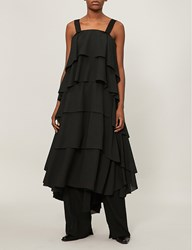 Aganovich Ruffled Silk Dress Black