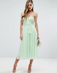 Asos Wedding Ruched Cami Midi Dress With Ruffle Front Green