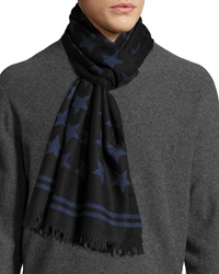 John Varvatos Star Print Wool Scarf Navy
