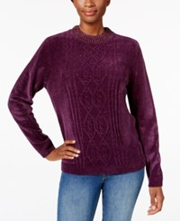 Alfred Dunner Beaded Neck Chenille Sweater Amethyst