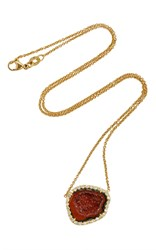 Kimberly Mcdonald Red And Orange Geode And Diamond Pendant