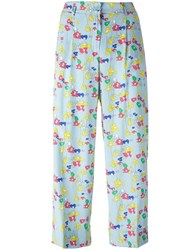 P.A.R.O.S.H. Floral Print Cropped Trousers Blue