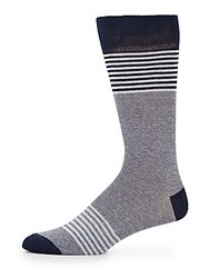 Saks Fifth Avenue Mid Calf Cotton Blend Block Stripe Socks Charcoal