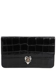 Alexander Mcqueen Croc Embossed Patent Leather Clutch