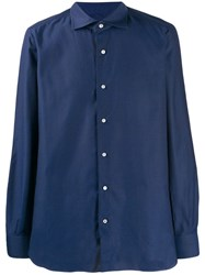 Isaia Contrasting Button Shirt Blue