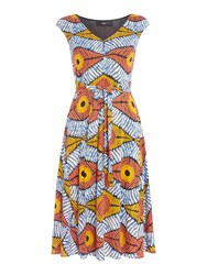 Max Mara Bu Sleeveless V Neck Jersey Printed Dress Orange
