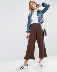 Asos Wide Leg Cropped Trousers In Rib Brown