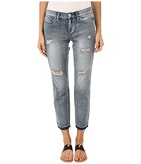 Dittos Bethany 7 8 Fray Crop In Medium Enzyme Destructed Medium Enzyme Destructed Women's Jeans Blue