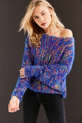 Ecote Funfetti Dolman Sleeve Sweater Blue Multi