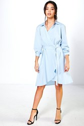 Boohoo Wrap Over Woven Belted Shirt Dress Blue