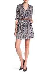 Angie Long Sleeve Button Up Shirt Dress Blue