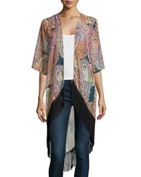 Romeo And Juliet Couture Paisley Fringe Hem Kimono Pink Orange