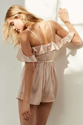 Oh My Love Satin Cold Shoulder Ruffle Romper Cream