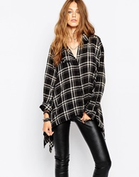 Blank Nyc Oversized Drapey Checked Shirt Multi