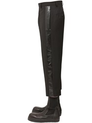 Rick Owens Cropped Wool Canvas Pants Black