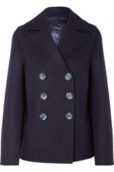 Joseph Hector Double Breasted Wool Blend Felt Coat Navy