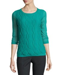 Lafayette 148 New York Double Layer Cable Knit Top Green