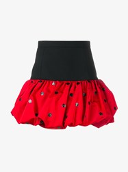 Saint Laurent Silk And Wool Bubble Mini Skirt Black Red Marble
