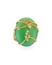 Indulgems Golden Green Chalcedony And Crystal Vine Ring Women's
