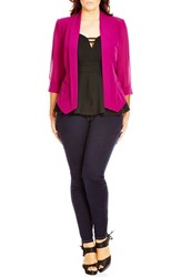 City Chic Plus Size Women's Drapey Mixed Media Blazer Cerise