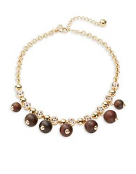 Kate Spade Second Nature Bead And Crystal Statement Necklace Gold