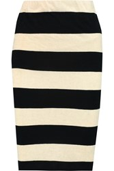 James Perse Striped Cotton And Linen Blend Pencil Skirt White